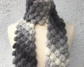 Crochet Scarf Neckwarmer Gray and Soft White Womens Puffy Bobble