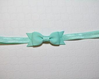 Aqua Bow Headband / Small Baby Bow Headband / Easter Headband / Baby Shower Gift / Aqua Baby Headband / Baby Girls Hair Accesories / Aqua