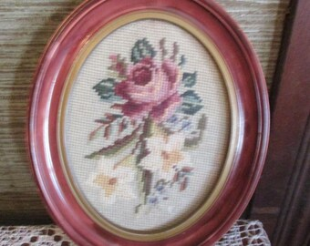 REDUCED Vtg Framed Pink Rose Flowers Floral Bouquet Needlepoint Pressed Wood Victorian Style  Oval Picture Frame