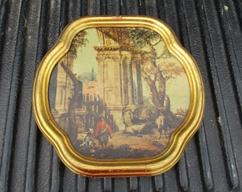 REDUCED Vtg Mid Century Gold Framed Marieschi Ruines Pastoral Setting Columns Print Scallop Edge Picture Frame, Italy