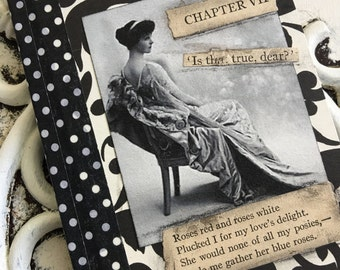 Altered Black and White Mini Composition Notebook/Journal Vintage Dictionary Vintage Black And White Photo Woman