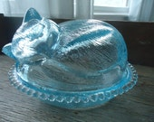 Vintage Blue Glass Cat Covered Dish