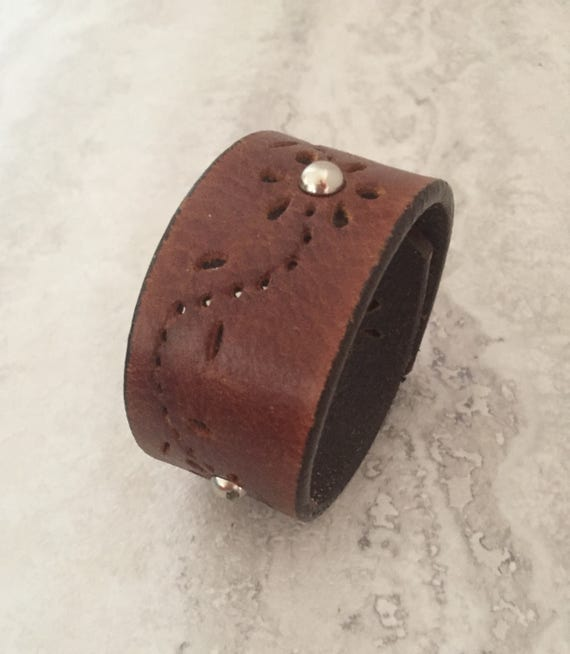 Handmade Brown Leather Bracelet, Women's Leather Cuff with Studs (size 6.5 inches)