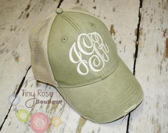Monogrammed Trucker Hat, Distressed Khaki Trucker Hat - Personalized Ball Cap, Mesh Trucker Hat