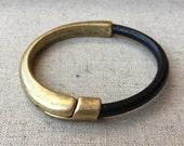 MAGNETIC half CUFF BRACELET black leather | antique brass metal