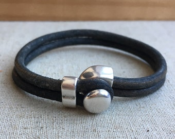 LEATHER CUFF bracelet. Dark GRAY distressed leather with silver half cuff button clasp.