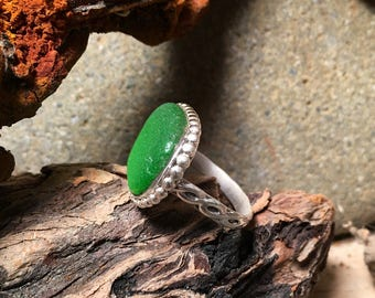 Kelly Green Sea Glass and Sterling Silver Ring size 6 1/2