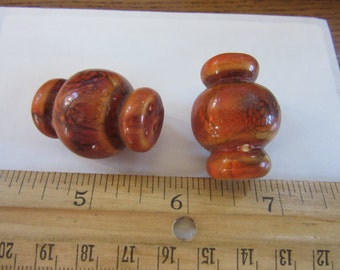 4 hand painted 30mm Resin  BEADS, A#52,  orange with grey, vtg 70s,  How were these used???? Necklaces ???,