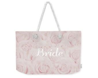 """Blush Pink """"Bride"""" Large Weekender Tote Bag, floral print, gift for bride bridal gift, bridal shower gift, destination wedding- 1610PKBRIDE"""