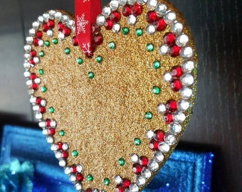 Large Gold Glitter Heart Christmas Decoration, ooak, Wooden, rhinestines, Xmas, red and green