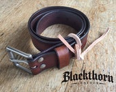 """Men's Leather Belt, Rustic Leather Belt, - Antiqued Brown, 1.5"""" wide with solid brass roller buckle"""