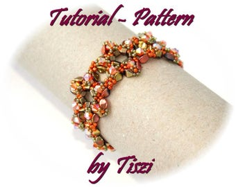 Beading pattern, tutorial for beaded bracelet Sira, pattern with Pinch, cubes and bicones. PDF instructions, step by step