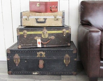 Set of 4 Vintage Trunks and Suitcases - Instant Stacked Luggage Collection