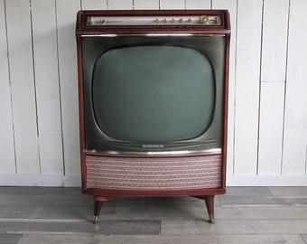 "1958 Console Television, Sears Silvertone Medalist 24"" TV, Mid Century Modern Style, Retro TV"