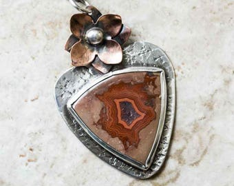 TeePee Canyon Agate Necklace in Sterling Silver and Copper