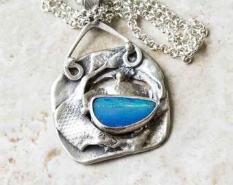 Blue Opal Artisan Pendant in Sterling Silver