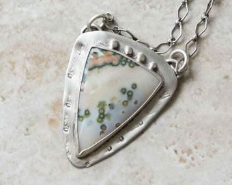 Ocean Jasper Stone Pendant Necklace in Sterling Silver