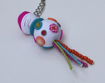Ball pendant necklace in granite white with colorful millefiori slices, polymer clay