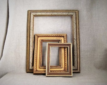 Vintage Hollywood Regency Collection of 3 Eclectic Frames / Gorgeous Gold Wall Gallery / Three Vintage Gold Open Frames