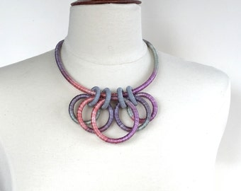 Collar Necklace Pink Gray Shades