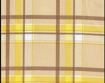 Large Round Plaid Brown and Yellow Oilcloth Tablecloth