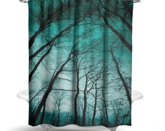 "Night Forest Trees Teal Shower Curtain/ Photography Print / Bath Curtain/ Standard Size (71""x74"") FABRIC SHOWER CURTAIN - Made To Order"