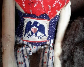 Primitive doll grungy doll  folk doll  patriotic doll rag doll with hearts 4th of july, memorial day, flag day, valentine day free shipping