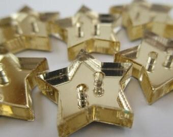 6 pcs Acrylic Star Buttons - 15mm - Plexiglass Button - Plastic Button - Fashion Scrapbooking sewing - Golden Mirror (BUP003GM)