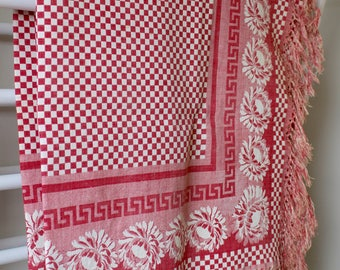 Red Check Table Cloth . Antique French Fringed Cloth.  Good Condition