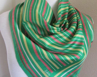 "Echo // Lovely Green Stripe Silk Scarf // 24"" Inch 61cm Square"