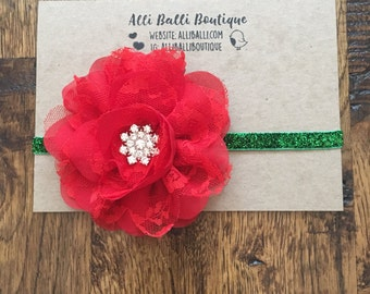 Christmas Headband, Baby Girl Headband, Red Headband, Newborn Photo Prop, Christmas Photography Prop