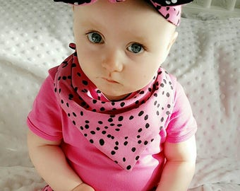 Polka Dotty bandana bib - baby bib - dribble bib - baby fashion - baby girl - baby accessories - pink - girly - organic cotton - hot pink