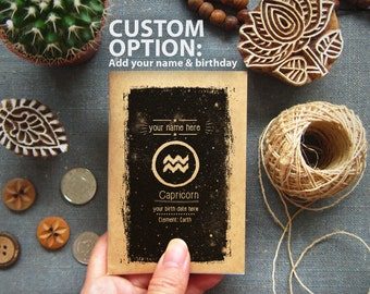 Zodiac Birthday Gift Custom Notebook Name and Birthday Personalized - Horoscope Pocket Journal Gift