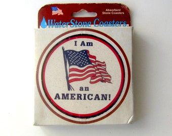 Vintage I Am An American Coasters - American Flag Drink Coasters - Set of Two - Made in USA