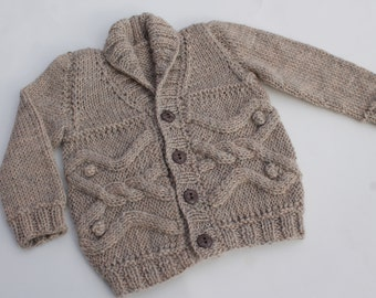 Hand Knit Baby Boy Cardigan. Baby Boy Cabled Cardigan. Brown Cardigan. Baby Boy Wool Cardigan.