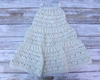 Crochet Tiered Baby Dress. Crochet Summer Baby Girl Dress. Crochet Girl Pinafore. Cream Baby Dress. Summer Lace Baby Girl Dress.