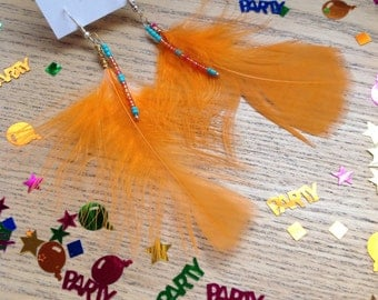 Handmade modern metis  orange feather earrings with  turquoise glass beads