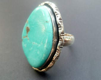 Large Sterling Silver and Blue Turquoise Statement Ring - Handmade Sterling Silver Statement Ring - Boho Turquoise Statement Ring - Size 9.1