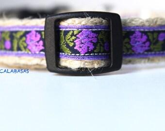 ON SALE - Floral Dog Collar, Purple Dog Collar, Narrow Dog Collar, Girl Dog Collar, Summer Dog Collar