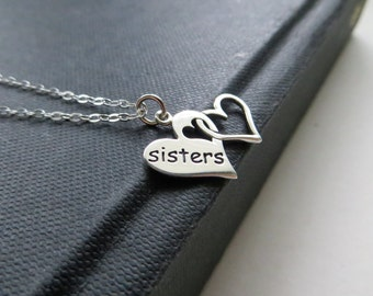 Sisters necklace gift / linked hearts necklace / sisterhood / sterling silver double heart charm / side by side