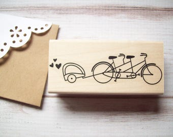 Tandem Bicycle Stamp with Baby Trailer , Tandem Bike , Birth Announcements , Baby Showers