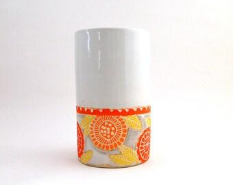 Ceramic Chiyogami Tall Vase, Orange