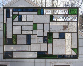 "Mission Style Blue & Green Geometric 4  - 12"" x 18.5"" -Stained Glass Window Panel"