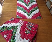 Set of four Christmas Bargello Placemats and matching Table Runner reserved for CraftGirl76