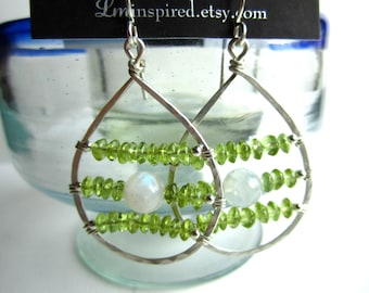 Rainbow Moonstone & Green Peridot Encapsulated Large Teardrop Hammered Sterling Silver Earrings by LM-inspired