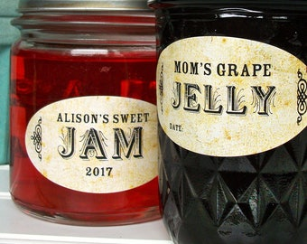 Custom Oval Vintage canning jar labels, stickers for quilted Ball jam and jelly jars, customized and personalized jelly jam jar labels