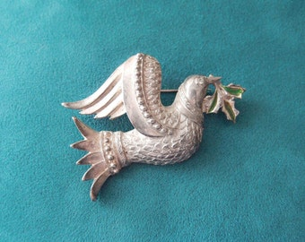 vintage Christmas bird brooch...silver plated with green enamel Partridge Dove
