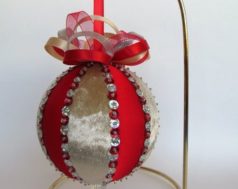 Christmas Ornament - Red Colored Satin and Beige Velvet with Red and Silver Hologram Sequin Trim