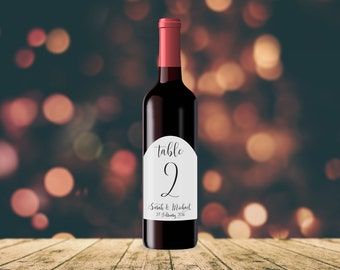 Personalised Table Numbers WINE LABEL TAGS | Wedding, Engagement, Monochrome, Typography, Stickers, Birthday, Minimalist