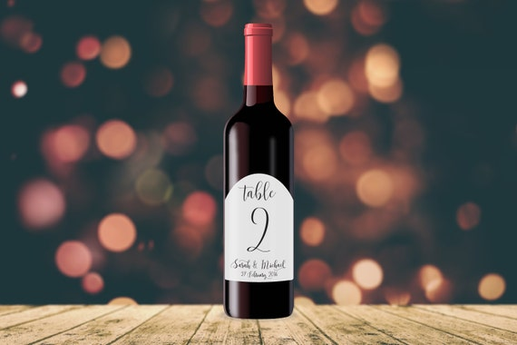 Personalised Table Numbers WINE LABEL TAGS   Wedding, Engagement, Monochrome, Typography, Stickers, Birthday, Minimalist
